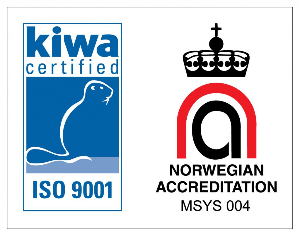 Kiwa certified ISO 9001. Norwegian Accreditation MSYS 044. Grafikk